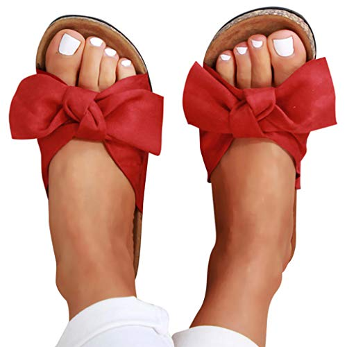 Womens Slides Beach Thong Slipper,Summer Bow Tie Flip Flops Flat Sandals for Women Red
