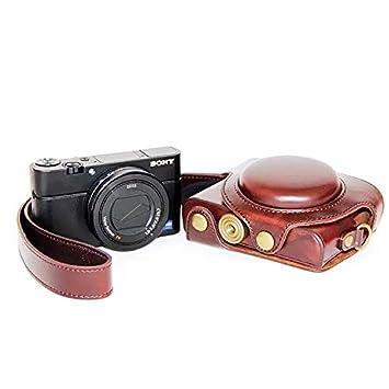 Borsa in pelle PU per fotocamera digitale custodia per con tracolla Sony Cyber-DSC RX100VI//M6 RX100V//M5 RX100IV//M4 RX100III//M3 Nero