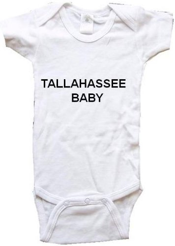 TALLAHASSEE BABY - City Series - White Baby One Piece Bodysuit / Baby T-shirt - size Small (6-12M) -