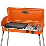 Portable 2 Burner Grill/Stove,Camp Propane Grill with Hose and Adapter for Outdoor Cooking-Camping and Tailgating (Red)
