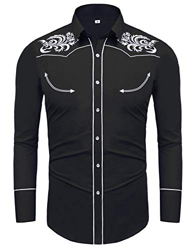 Fleur Button Front Shirt - Daupanzees Men's Button Up Shirt Tribal Spread Fleur de Lis Embroidered Dress Shirt Vintage Western Cowboy Shirt(Black S)