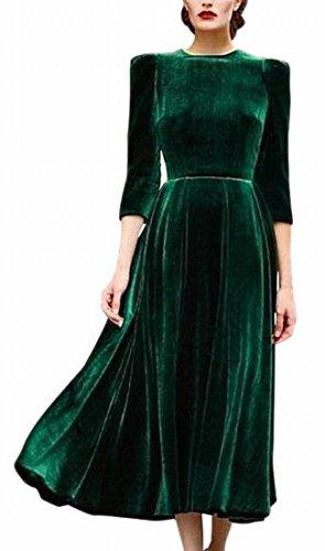 Dall'oscillazione Manica Di Jaycargogo Velluto Lunga Partito Bagliore Elastico Linea Vestito Verde Midi Una Donna vSxxgdRqw
