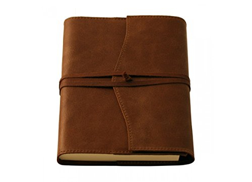 Coles Medium Amalfi Refillable Leather Lined Paper Journal - Chocolate