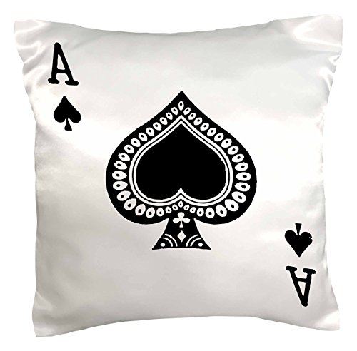 3dRose pc_76552_1 Ace of Spades Playing Card-Black Spade Suit-Gifts for Cards Game Players of Poker Bridge Games-Pillow Case, 16 by 16