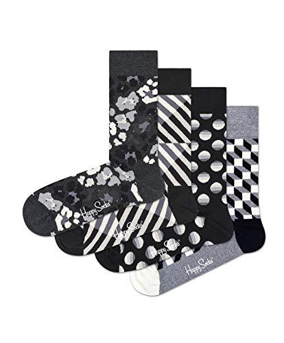 Happy Socks Unisex Black and White Gift Box Set, Four Pairs of Crew Socks (Black/White Combo, 10-13)