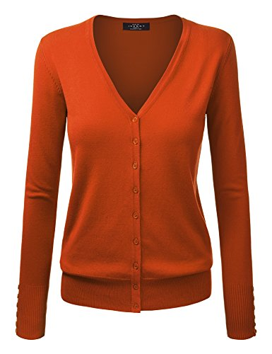 WSK780 Womens Keep It Classic V Neck Cardigan S Rust]()