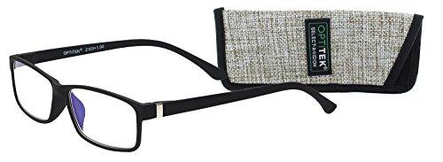 Select-A-Vision Optitek Rectangular Blue Light Reading Glasses, Black, 2.00