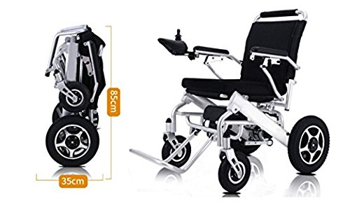 (Electric Wheelchair Deluxe Foldable Power Compact Mobility Aid Wheel Chair, Lightweight Folding Carry Electric Wheelchair, Supports up to 350 lbs, FDA Approved)