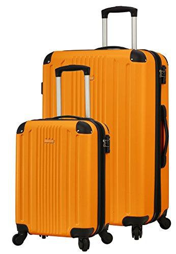 TravelCross Milano Luggage Lightweight Spinner Set (Orange, 2 piece set (20''/ 28'')) (Orange Expandable Set Luggage)
