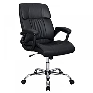 Black PU Leather Ergonomic High Back Executive Best Desk Task Office Chair by Bestoffice