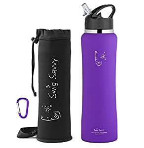 SWIG SAVVY Stainless Steel Insulated Water Bottle Wide Mouth 24oz/32oz Double Wall Design with Straw Flip Cap - Great For Kids - Sweat Proof - Including Water Bottles Pouch (Purple, 24)