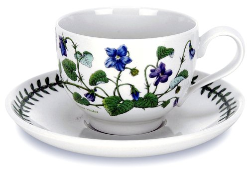 Botanic Blue Tea Set - Portmeirion 60820AZ Botanical Garden Tea Cup and Saucer, Set of 6 Assorted Motifs, Set, Blue, White