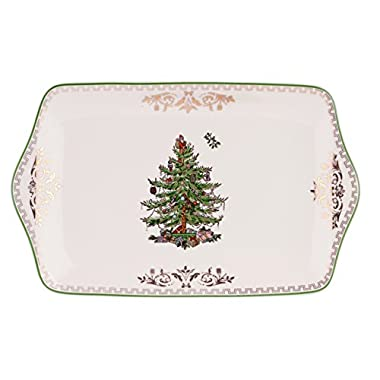 Spode Christmas Tree Dessert Tray, Gold