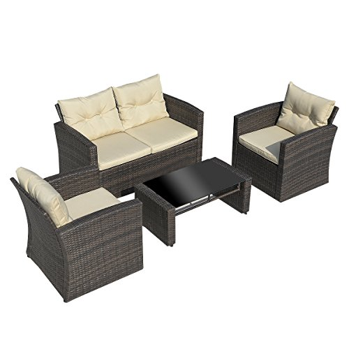 Tangkula 4PCS Wicker Patio Set Garden Cushioned Sofa Furniture Set (Gradient Brown) (Wicker Conversation Set)