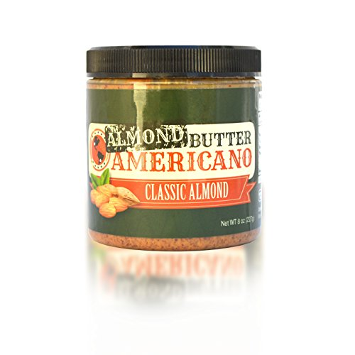 PB Americano All-Natural Gourmet CLASSIC Crunchy Roasted Almond Nut Butter – Sugar Free, Low Net Carb, Non-GMO & Vegan (CLASSIC, 8 Oz (Single))