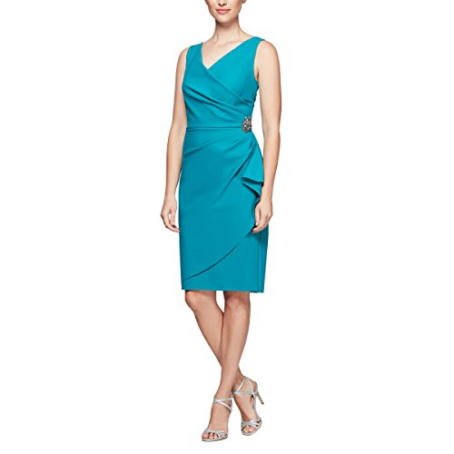 Alex Evenings Women's Slimming Short Ruched Dress with Ruffle Skirt (Petite and Regular Sizes), Turquoise, 2 (Alex Evenings Dress Petite)