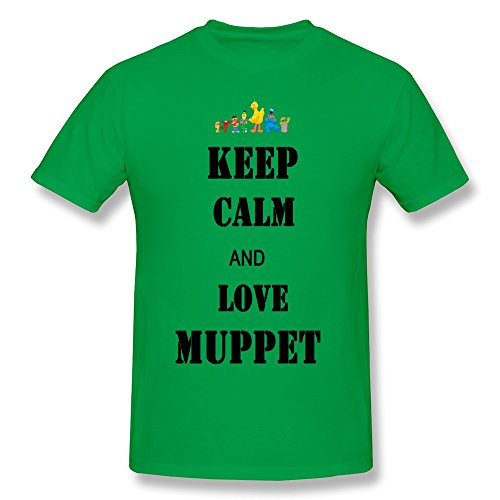 Tea Time Men's Tshirt Keep Calm And Love Muppets ForestGreen Size XS