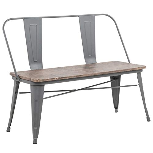 Kenneth Rustic Industrial Metal & MDF Double Bench in Grey