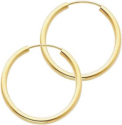 14k Yellow Gold 2mm Thickness Endless Hoop Earrings - 9 Different Size Available