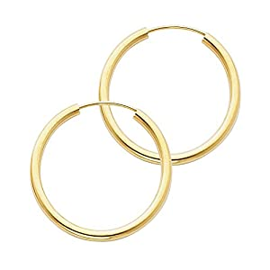 14k Yellow Gold 2mm Thickness Endless Hoop Earrings 9 Different Size Available