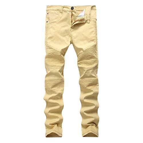 Uomo Stile Lanceyy Alti Skinny Moto Elasticizzati Da Vintage Khaki A Alta Vita Jeans E Semplice Dritti q8PqRHpv
