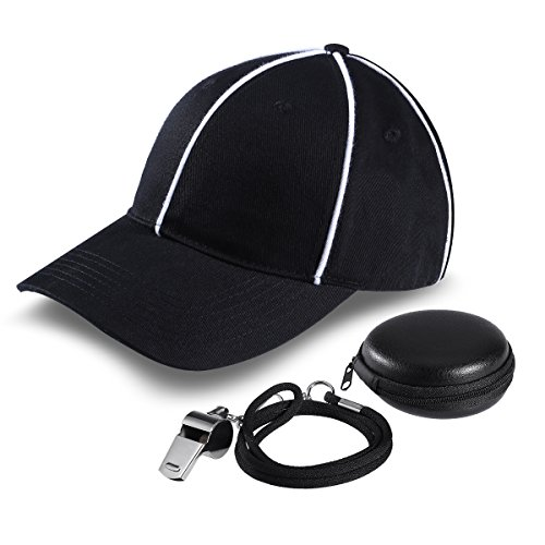 [iBaseToy Black with White Stripes Umpire Cap and Stainless Steel Whistle For Coach include Exquisite Case for Max protection and Storage.] (Simple Soccer Player Costume)