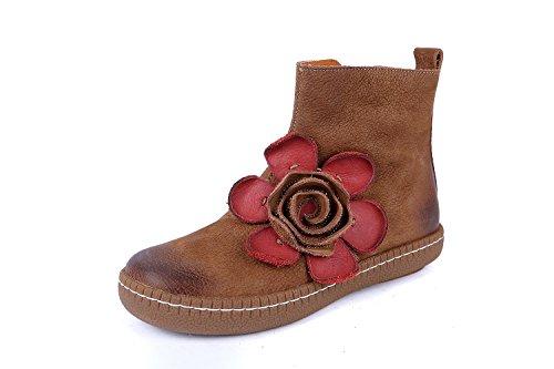 Dverger Kvinners Ekte Skinn Chelsea Boots Med Håndlagde Blomster Grå /  Kamel Kamel