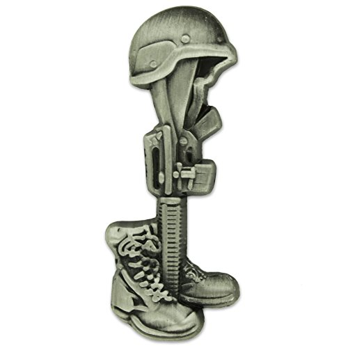 PinMart Final Tribute Battle Cross Fallen Soldier Silver Lapel Pin