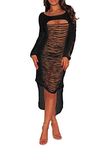 Cava Alician Estende Su Indossare Irregolare Bordo Nero Sexy Lungo Bikini Abito Si Spiaggia Sottile rwSZrqX