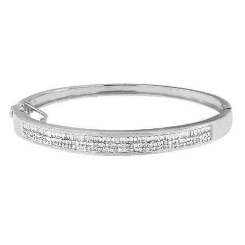 Diamond Bangle Baguette Bracelet (14K White Gold Princess and Baguette Cut Diamond Classic Bangle Bracelet (2 1/10 cttw, H-I Color, SI1-SI2 Clarity))