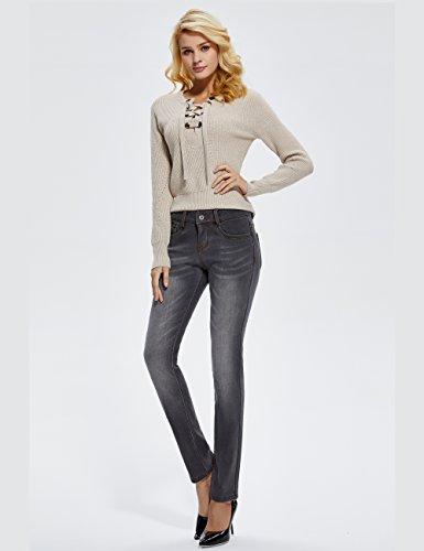 Donna Jeans Inverno Flanella Camii Mia Skinny Foderato Pantaloni Grau neue Größe Slim Fit 6wg4w15Oxn