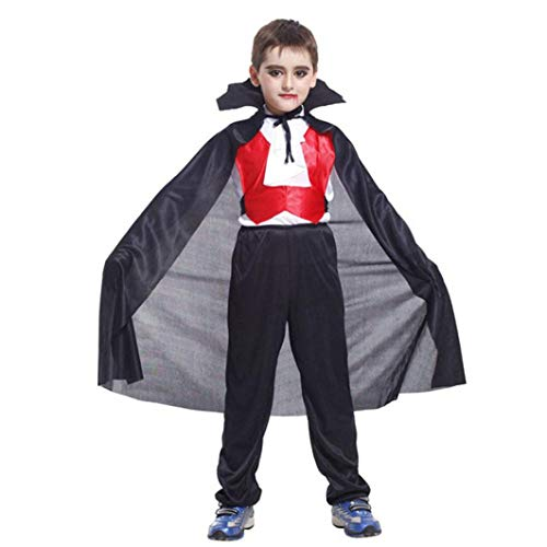 DIGOOD for 3-10 Years,Teen Boys Vampire Cosplay Tops and Pants with Cloak,Kids 3Pcs Hallween Outfits Costumes Sets (Black, 3-4 Years) -