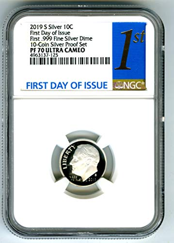 Ngc Dimes - 2019 S FIRST-EVER .999 SILVER PROOF DIME FIRST DAY OF ISSUE REGISTRY QUALITY Dime PF70 NGC UCAM