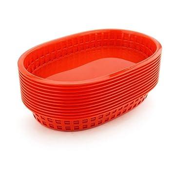 "12pcs/lot 10,5 ""gran plato de comida rápida cesta rojo platos"