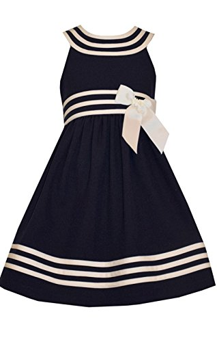 (Bonnie Jean Girls Easter White / Navy Nautical Sailor Uniforms Dress (14))