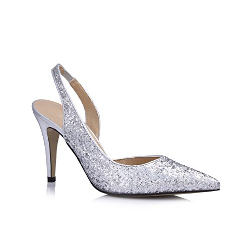 DolphinBanana Glitter Silver Women's Dress Heeled Sandals Pointy-Toe Open-Back Pumps Stilettos Slingback Mules High Heel Slim Shoes Party Wedding Club Pub Prom Giveaway Gift SM00306 - Almond Calf Sandals