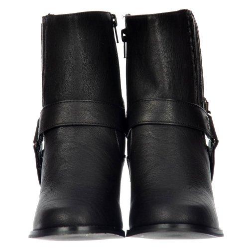 Onlineshoe Frauen Chelsea Ankle Boot Mit Schnürung Und Riemens - Kubanische Blockabsatz - Braun, Schwarz Schwarz