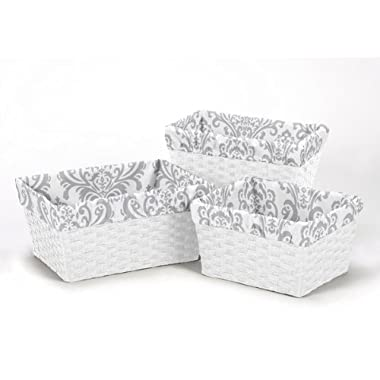 Set of 3 One Size Fits Most Basket Liners for Pink and Gray Elizabeth Bedding Sets by Sweet Jojo Designs