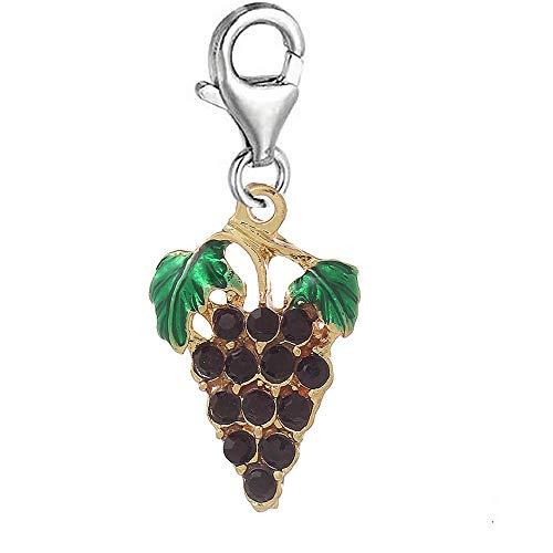 Pendant Jewelry Making Rhinestone Grape Purple Fruit Clip on Charm Pendant for European Jewelry w/Lobs