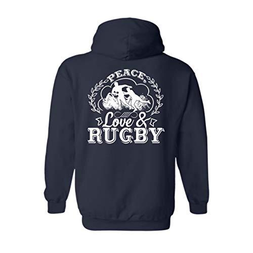 Peace Love and Rugby Mens Hoodie, Women Hoodie Sweatshirts Navy,L