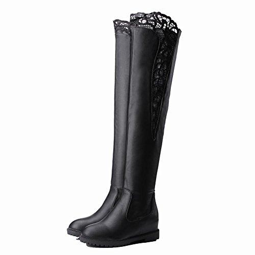Latasa Kvinna Spets Låg Kil Svarta Höga Boots Svart