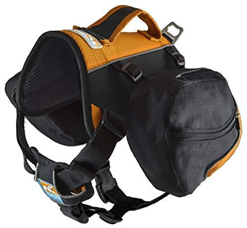 Kurgo Big Baxter Dog Backpack, Dog Saddlebag, Dog Pack, Adjustable Saddlebag for Hiking, Walking, Running, Camping, Black/Orange
