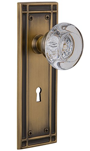 Nostalgic Warehouse Mission Plate with Keyhole Round Clear Crystal Glass Knob, Privacy - 2.375
