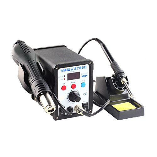 2in1 YIHUA 8786D SMD Rework Soldering Station Hot Air Gun Solder Iron Welder with LED Digital Displays + 3 Nozzles