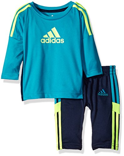 - adidas Baby Boys' Long Sleeve Tee and Pant Set, Tile Blue, 12 Months
