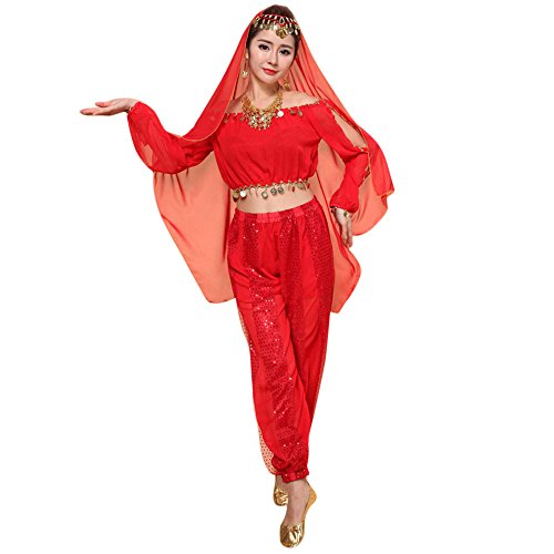 Belly Dancing Costumes Cheap (Dance Costumes Set,Elaco Womens New Belly Indian Dancing Dress Clothes Top Pants (Free size, Red))
