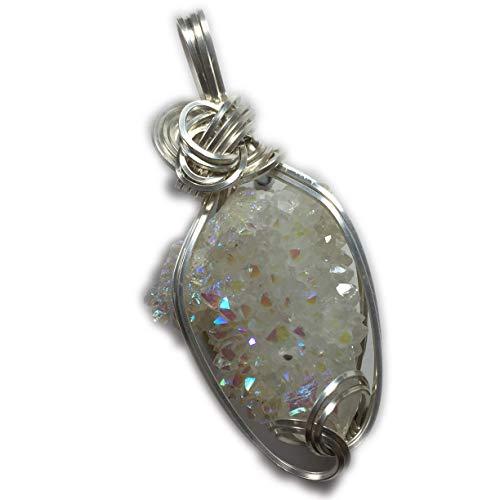 - Rocks2Rings Spirit Quartz Necklace Pendant Crystal - Cactus Aura Angle Sparkles Sterling Silver with Black Leather Necklace ZR