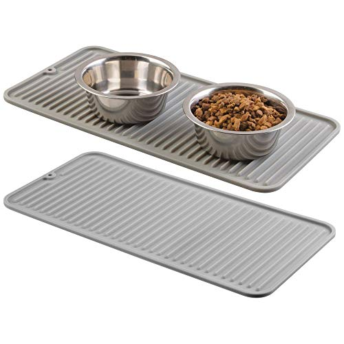mDesign Premium Quality Pet Food and Water Bowl Feeding Mat for Cats and Kittens - Waterproof Non-Slip Durable Silicone Placemat - Food Safe, Non-Toxic - Small, 2 Pack - Gray
