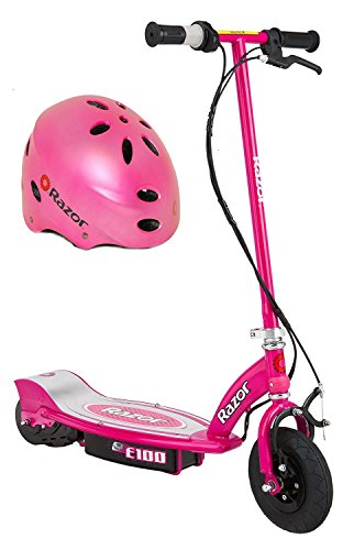 Bundle of 2: Includes Razor E100 Electric Scooter and Razor Helmet (Pink) (Razor E Glow Electric Scooter)
