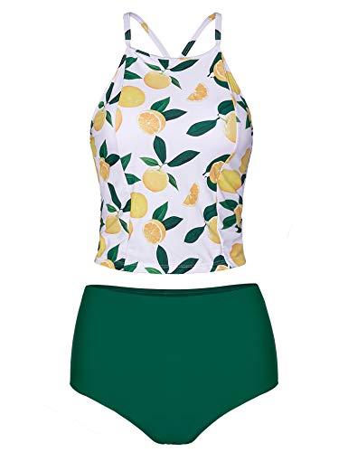 Verano Playa Women Tankini Swimsuit Criss Cross Back Swimwear Two Piece High Neck Bathing Suit Lemon Green
